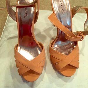 Coral straps heels